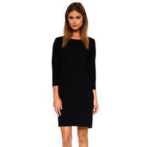 Vince Wool Shift Dress Mixed Media Sweater Dress